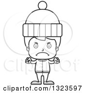 Lineart Clipart Of A Cartoon Black And White Mad Boy In Winter Clothes Royalty Free Outline Vector Illustration