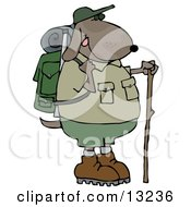 Dog Using A Hiking Stick While Backpacking With Camping Gear Clipart Illustration
