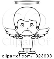 Lineart Clipart Of A Cartoon Black And White Mad Boy Angel Royalty Free Outline Vector Illustration