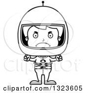 Lineart Clipart Of A Cartoon Black And White Mad Boy Astronaut Royalty Free Outline Vector Illustration