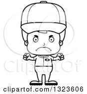Lineart Clipart Of A Cartoon Black And White Mad Boy Baseball Player Royalty Free Outline Vector Illustration