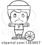 Lineart Clipart Of A Cartoon Black And White Mad Boy Basketball Player Royalty Free Outline Vector Illustration