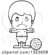 Lineart Clipart Of A Cartoon Black And White Mad Boy Beach Volleyball Player Royalty Free Outline Vector Illustration