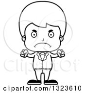 Lineart Clipart Of A Cartoon Black And White Mad Boy Businessman Royalty Free Outline Vector Illustration