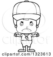Lineart Clipart Of A Cartoon Black And White Mad Boy Sports Coach Royalty Free Outline Vector Illustration
