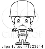Cartoon Black And White Mad Boy Construction Worker