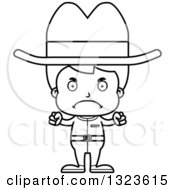 Lineart Clipart Of A Cartoon Black And White Mad Boy Cowboy Royalty Free Outline Vector Illustration