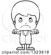 Lineart Clipart Of A Cartoon Black And White Mad Boy Doctor Royalty Free Outline Vector Illustration