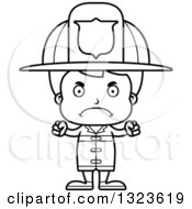 Lineart Clipart Of A Cartoon Black And White Mad Boy Firefighter Royalty Free Outline Vector Illustration