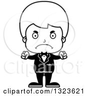 Lineart Clipart Of A Cartoon Black And White Mad Boy Groom Royalty Free Outline Vector Illustration