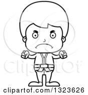 Lineart Clipart Of A Cartoon Black And White Mad Karate Boy Royalty Free Outline Vector Illustration