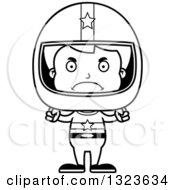 Lineart Clipart Of A Cartoon Black And White Mad Boy Race Car Driver Royalty Free Outline Vector Illustration