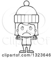 Outline Clipart Of A Cartoon Black And White Mad Girl In Winter Clothes Royalty Free Lineart Vector Illustration