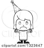 Outline Clipart Of A Cartoon Black And White Mad Girl Wizard Royalty Free Lineart Vector Illustration