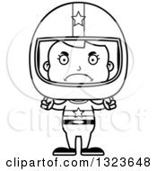Outline Clipart Of A Cartoon Black And White Mad Race Car Driver Girl Royalty Free Lineart Vector Illustration