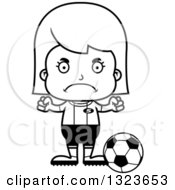 Outline Clipart Of A Cartoon Black And White Mad Girl Soccer Player Royalty Free Lineart Vector Illustration