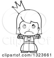 Outline Clipart Of A Cartoon Black And White Mad Girl Princess Royalty Free Lineart Vector Illustration by Cory Thoman