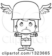 Outline Clipart Of A Cartoon Black And White Mad Hermes Girl Royalty Free Lineart Vector Illustration