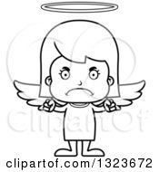 Outline Clipart Of A Cartoon Black And White Mad Girl Angel Royalty Free Lineart Vector Illustration
