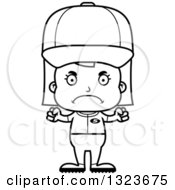 Outline Clipart Of A Cartoon Black And White Mad Girl Baseball Player Royalty Free Lineart Vector Illustration
