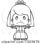 Outline Clipart Of A Cartoon Black And White Mad Girl Bride Royalty Free Lineart Vector Illustration