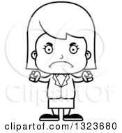 Outline Clipart Of A Cartoon Black And White Mad Business Girl Royalty Free Lineart Vector Illustration
