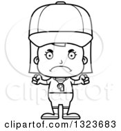 Outline Clipart Of A Cartoon Black And White Mad Girl Sports Coach Royalty Free Lineart Vector Illustration
