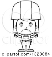 Cartoon Black And White Mad Girl Construction Worker