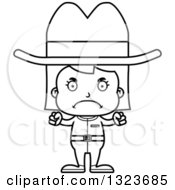 Outline Clipart Of A Cartoon Black And White Mad Cowgirl Royalty Free Lineart Vector Illustration