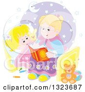 Clipart Of A Cartoon Blond Caucasian Granny Reading A Bedtime Story To Her Granddaughter Royalty Free Vector Illustration