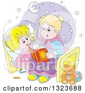 Clipart Of A Cartoon Blond White Granny Reading A Bedtime Story To Her Granddaughter Royalty Free Vector Illustration