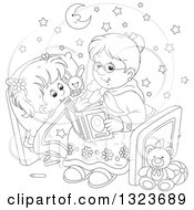 Outline Clipart Of A Cartoon Black And White Granny Reading A Bedtime Story To Her Granddaughter Royalty Free Lineart Vector Illustration