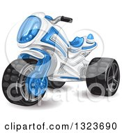 Clipart Of A Boys Blue And White Tough Trike Toy Royalty Free Vector Illustration by merlinul