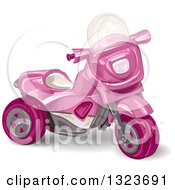Clipart Of A Girls Pink Trike Toy Royalty Free Vector Illustration by merlinul