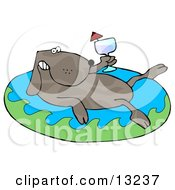 Relaxing Dog Drinking Red Wine And Soaking In An Inflatable Kiddie Pool Clipart Illustration