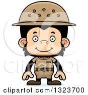 Clipart Of A Cartoon Happy Chimpanzee Monkey Zookeeper Royalty Free Vector Illustration