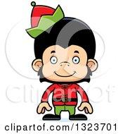 Clipart Of A Cartoon Happy Christmas Elf Chimpanzee Monkey Royalty Free Vector Illustration
