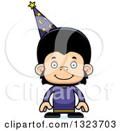 Clipart Of A Cartoon Happy Chimpanzee Monkey Wizard Royalty Free Vector Illustration by Cory Thoman