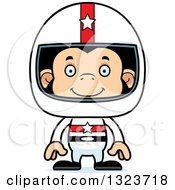 Clipart Of A Cartoon Happy Chimpanzee Monkey Race Car Driver Royalty Free Vector Illustration