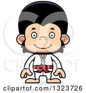 Clipart Of A Cartoon Happy Karate Chimpanzee Monkey Royalty Free Vector Illustration