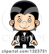 Clipart Of A Cartoon Happy Chimpanzee Monkey Groom Royalty Free Vector Illustration