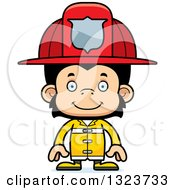 Clipart Of A Cartoon Happy Chimpanzee Monkey Firefighter Royalty Free Vector Illustration