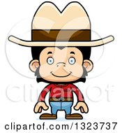 Clipart Of A Cartoon Happy Chimpanzee Monkey Cowboy Royalty Free Vector Illustration