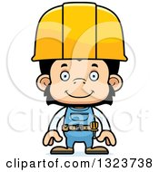 Cartoon Happy Chimpanzee Monkey Construction Worker