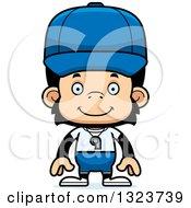 Clipart Of A Cartoon Happy Chimpanzee Monkey Coach Royalty Free Vector Illustration