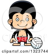 Clipart Of A Cartoon Happy Chimpanzee Monkey Beach Volleyball Player Royalty Free Vector Illustration