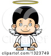 Clipart Of A Cartoon Happy Chimpanzee Monkey Angel Royalty Free Vector Illustration
