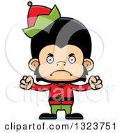Clipart Of A Cartoon Mad Christmas Elf Chimpanzee Monkey Royalty Free Vector Illustration