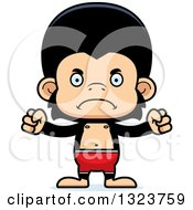 Clipart Of A Cartoon Mad Chimpanzee Monkey Swimmer Royalty Free Vector Illustration