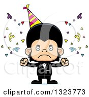 Clipart Of A Cartoon Mad Party Chimpanzee Monkey Royalty Free Vector Illustration by Cory Thoman